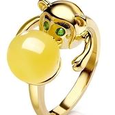 戒指 925純銀 琥珀-可愛猴子生日情人節禮物女開口戒73ga25[時尚巴黎]