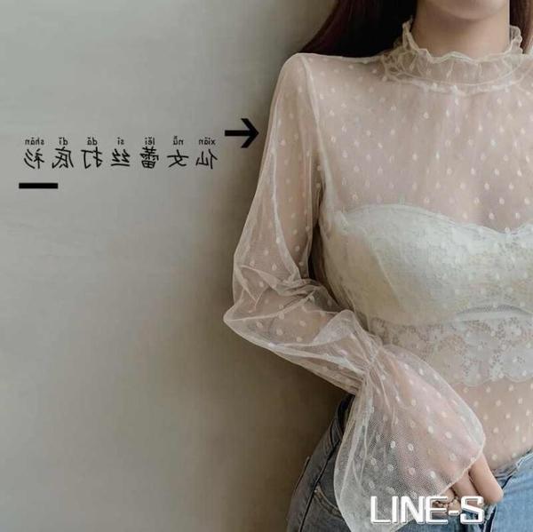 大碼胖mm半高領蕾絲打底衫女秋冬裝內搭鏤空花邊時尚長袖網紗上衣