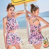 少女分體游泳衣韓版修身平角兩件套時尚印花性感露腰溫泉泳裝