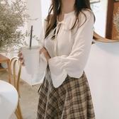 衬衫 韓版chic系帶立領喇叭袖白色雪紡襯衫女春秋2020新款寬松打底上衣 风尚3c