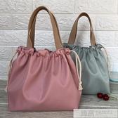 新款純色防水飯盒包手提包可愛抽繩便當袋午餐包帶飯包飯盒手提袋  夏季新品