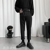 西裝褲 直筒褲子男寬鬆休閒長褲夏季韓版潮流修身九分褲墜感闊腿小西褲男 薇薇