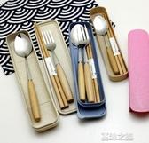 便攜筷勺-日式筷子勺子叉子套裝便攜餐具學生成人兒童寶寶天然木質訂製刻字 夏沫之戀