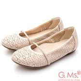 G.Ms.* MIT系列-鏤空牛皮繫帶娃娃鞋*杏米