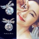 925純銀針  韓國優雅氣質 可愛蝴蝶結鋯鑽  耳環-維多利亞1810107
