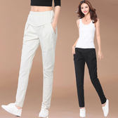 【GZ52】立體車線造型純色口袋縮腰長褲 亞麻哈倫褲 長褲