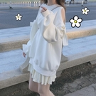 NiHut 露肩蝴蝶結衛衣2020秋冬新款白色寬鬆顯瘦減齡小個子上衣女 果果輕時尚