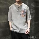 夏季中國風男裝亞麻短袖男V領魚刺繡半袖潮流唐裝中袖胖子棉麻t恤 布衣潮人