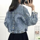 牛仔外套 牛仔外套女2021春秋短款蝙蝠袖上衣學生寬鬆韓版bf原宿風夾克外套 韓國時尚 618