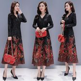 中長款秋連身裙女韓版修身顯瘦印花氣質V領長袖裙子洋裝