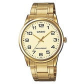 【CASIO】 經典商務型男金數字指針腕錶-數字金面(MTP-V001G-9B)