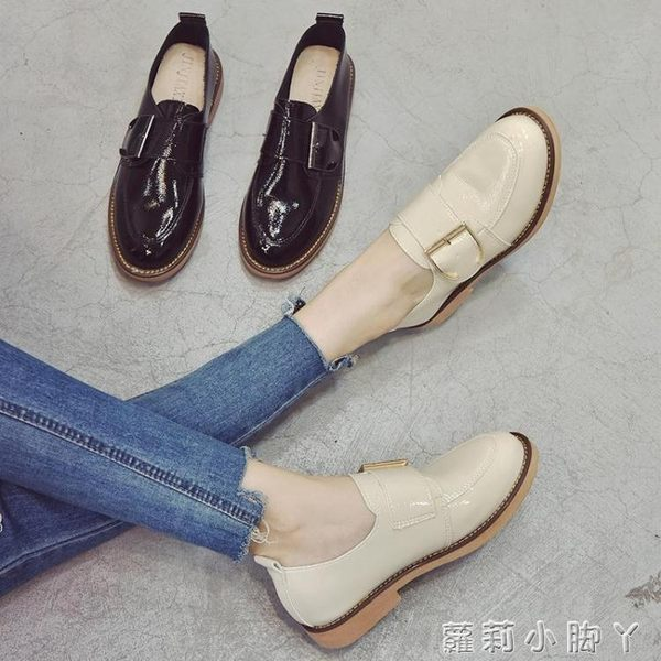牛津鞋小皮鞋女夏秋季新款百搭學生樂福鞋英倫風復古皮帶扣單鞋 蘿莉小腳ㄚ