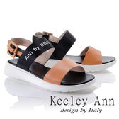 ★2018春夏★Keeley Ann韓式風潮~雙色寬帶英文字樣平底涼鞋(棕色)-Ann系列