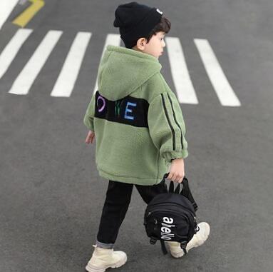 男童外套 羊羔毛絨外套春款中大童冬裝顆粒加絨加厚夾棉服兒童棉衣潮【快速出貨八折搶購】