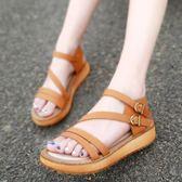 夏季韓版涼鞋 厚底鬆糕羅馬大碼平底鞋《小師妹》sm778