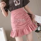 魚尾裙 高腰魚尾半身裙女夏季新款顯瘦百搭荷葉邊a字褶皺包臀短裙子