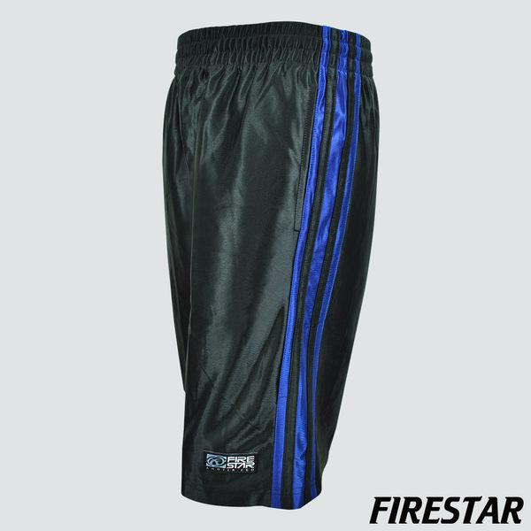 FIRESTAR-男性吸濕排汗撞色亮面籃球褲-黑/寶藍 B3701-10