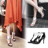 {丁果時尚}大尺碼女鞋34~48訂製款►個性時尚白領領帶高跟涼鞋*2色
