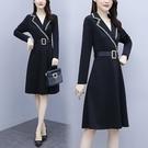 洋裝長袖西裝領中大尺碼L~5XL韓版胖M...