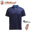 【Wildland 荒野 男 椰碳紗本布領抗菌上衣《深藍》】0A71606/運動衣/吸濕排汗/短袖/polo衫