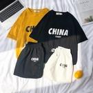男士休閒套裝跑步寬鬆潮牌短袖t恤網紅兩件...