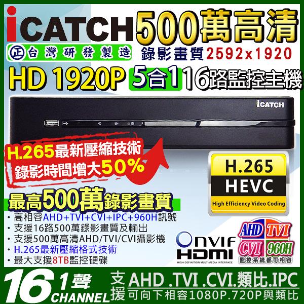 監視器攝影機 KINGNET 可取 iCATCH 16路監視主機 HD1080P 4MP/1080P/720P/960H 1440P HDMI
