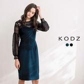 東京著衣【KODZ】注目款-復古女伶質感絨面蕾絲設計洋裝套裝-S.M.L(172620)