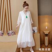 中大尺碼 中大尺碼中國風洋裝新款大碼寬松顯瘦長裙 WD2864【衣好月圓】