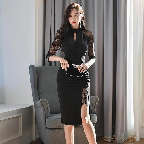 宴會年會晚禮服連衣裙女新款收腰顯瘦氣質法式赫本風小禮服裙 扣子小鋪