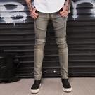 新品特惠# 跨境外貿BIKER JEANS 機車褲皺褶修身小腳彈歐美牛仔褲
