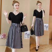 大尺碼洋裝 夏裝新款短袖假兩件拼接顯瘦條紋裙洋裝大碼女裝LJ7733『黑色妹妹』