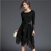 【南紡購物中心】《D Fina 時尚女裝》蕾絲拼接 不規則氣質風飄逸感洋裝