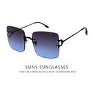 歐美時尚方框金屬墨鏡 漸層藍 獨家不撞款 精緻流行高品質顯小臉太陽眼鏡