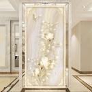 掛畫 5d立體凹凸壁畫裝飾走廊過道玄關背景墻壁紙豎式墻布仿瓷歐式墻紙