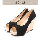 大尺碼女鞋小尺碼女鞋新款魚口百搭楔型跟鞋...