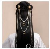 漢服頭飾瓊玉玲瓏仙氣珍珠後壓頭飾流蘇古風漢服髮夾明制髮飾古裝配飾 快速出貨