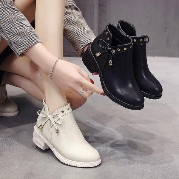 靴子女2021春秋季新款單靴韓版粗跟短靴百搭網紅蝴蝶結短筒馬丁靴 3C數位百貨