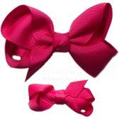 Cutie Bella 手工蝴蝶結髮夾 羅紋緞帶 全包布 中小款二入套組-Fuchsia