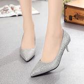 5公分高跟鞋女細跟淺口單根淺口3厘米銀色時尚亮片小單鞋  蒂小屋服飾 618來襲