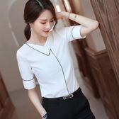 大碼 短袖白色雪紡襯衫韓版氣質百搭顯瘦襯衣職業裝女2019新款夏 rj1011『科炫3C』