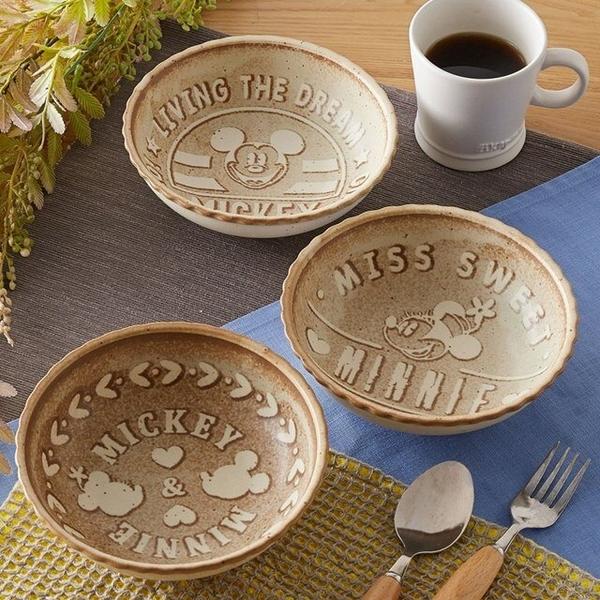 小禮堂 迪士尼 米奇米妮 日本製 陶瓷碗3入組 (棕餅乾款) 4959079-29013