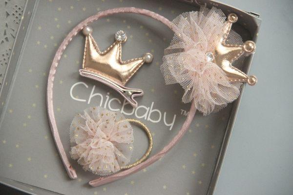 3件組韓國風女童公主風.蕾絲皇冠兒童髮箍.髮圈.寶寶邊夾髮飾~EMMA商城