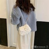 包包女2021冬季新款迷你毛毛云朵包韓版百搭斜背包時尚菱格鍊條包 伊蘿