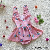 女童連體兒童泳衣女孩雪糕保守裙式