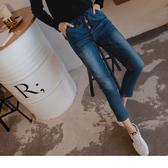 OB嚴選《BA2931-》微刷色破壞感皮片造型抽繩牛仔長褲--適 S~XL
