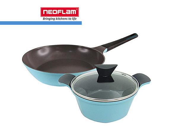 韓國[NEOFLAM] Perfcct Toss系列28cm平底鍋+Venn系列20cm湯鍋+玻璃蓋