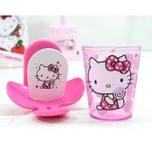 【震撼精品百貨】Hello Kitty 凱蒂貓~HELLO KITTY 粉色棒棒糖黏著式牙刷杯架組