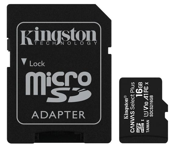 【免運費+贈SD收納盒】金士頓 16GB U1 C10 A1 microSDHC R100MB/s 記憶卡(附SD轉卡)X1【公司貨/終身保固】
