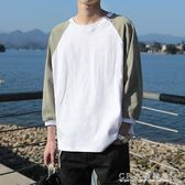 夏季七分袖t恤男韓版潮流學生原宿bf風情侶7分短袖T桖港風上衣服『CR水晶鞋坊』