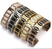 手錶帶陶瓷不銹鋼手表帶 適配guess 鐵達時ck dw鋼帶手表鍊 18mm男女16